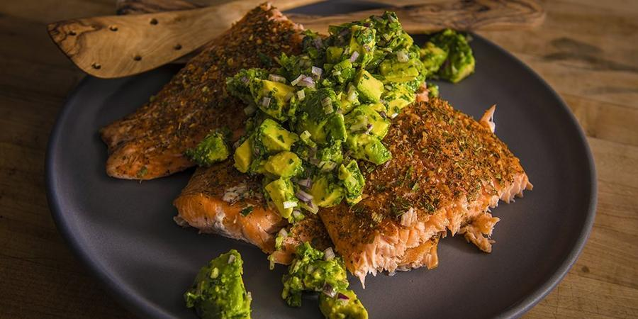 image of Grilled Salmon With Smoked Avocado Salsa
