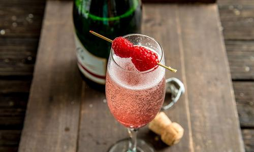Smoked Raspberry Bubbler Cocktail