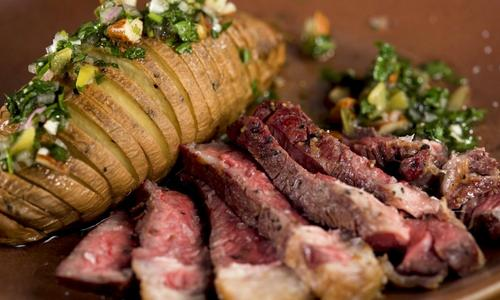Grilled Rib Eye with Hasselback Sweet Potatoes and Lemon Gremolata