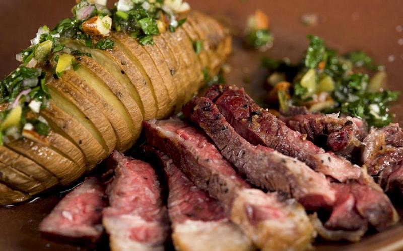 Grilled Rib Eye with Hasselback Sweet Potatoes and Lemon Gremolataimage