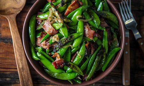 Grilled Sugar Snap Peas and Smoked Bacon