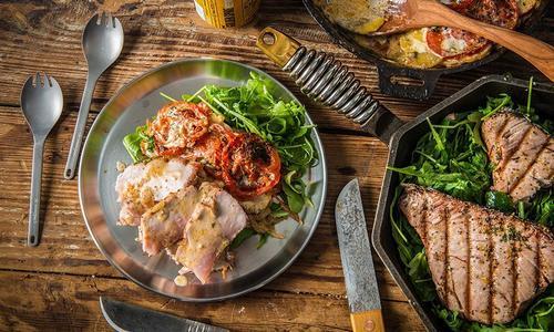Grilled Albacore Tuna with Potato-Tomato Casserole