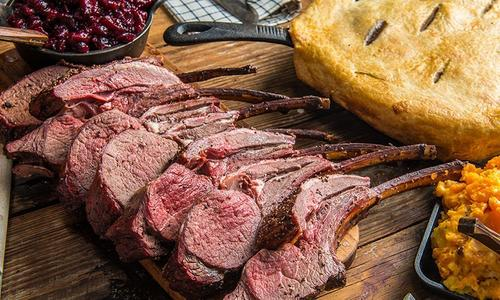 Roasted Rack of Venison with Cranberry Sauce