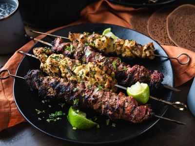 Yogurt-Marinated Chicken Thigh & Beef Tenderloin Kabobs Recipe