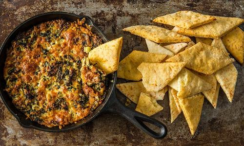Baked Artichoke Dip with Homemade Flatbread