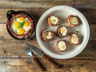 Baked Eggs in Bacon Nest