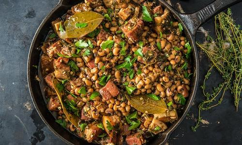 New Year's Black Eyed Peas with Homemade Smoked Bacon