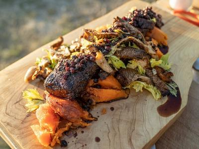 Grilled Elk Loin with Baked Sweet Potatoes and Grilled Wild Mushrooms Recipe