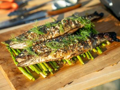 Grilled Rainbow Trout with Grilled Asparagus and Charred Lemon Vinaigrette Recipe