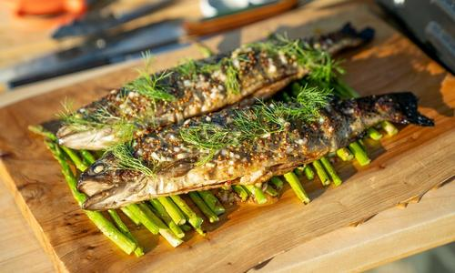 Grilled Rainbow Trout with Grilled Asparagus and Charred Lemon Vinaigrette
