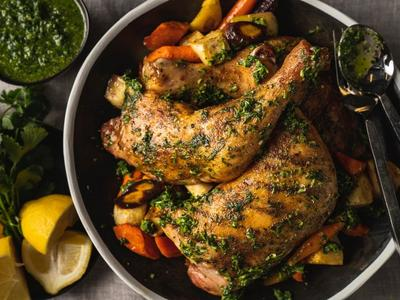 Moroccan-Spiced Roasted Chicken with Root Vegetables and Chermoula Recipe