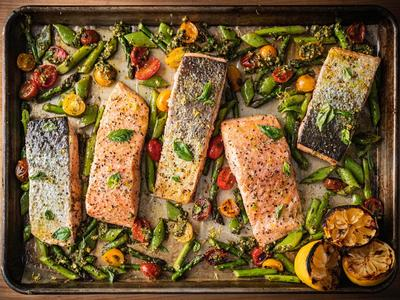 Roasted Sheet Pan Salmon with Spring Vegetables and Pesto Recipe