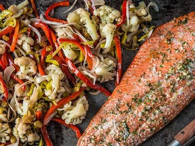 Roasted Wild Salmon With Pickled Cauliflower Salad Recipe