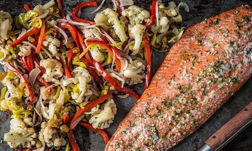 Roasted Wild Salmon With Pickled Cauliflower Salad