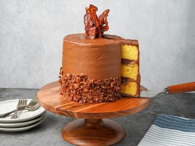 Yellow Layer Cake with Smoked Candied Bacon Recipe