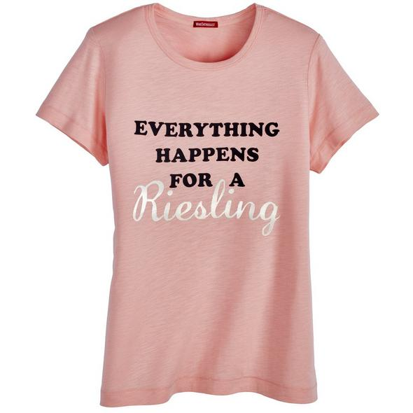 Everything Happens For A Riesling Written Funny Designed T-Shirt  Wine Party Shirt  Wine Lovers Tee  Wine Drinker Shirt  Wine Addict Tee