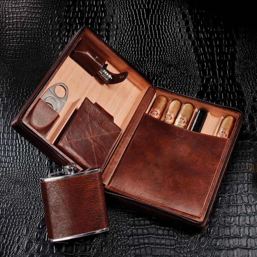 Leather Cigar Travel Case with Flask