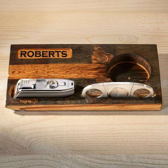 Personalized Reclaimed Bourbon Barrel Cigar Ashtray with Torch Lighter and Cutter