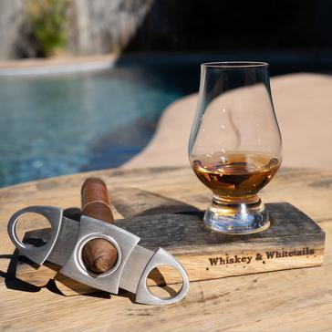 Reclaimed Whiskey Barrel Cigar Rest and Glencairn Glass Set with Cigar Cutter