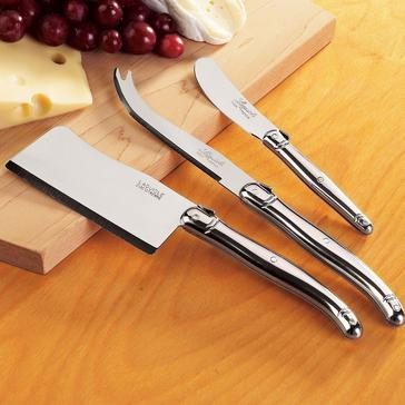 Jean Dubost Laguiole 3-Piece Cheese Knife Set (Stainless Steel)
