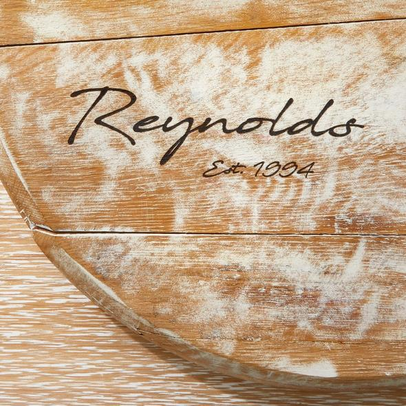 Personalized Whitewashed Barrel Head Lazy Susan