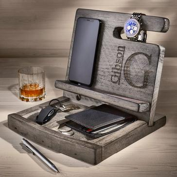 Personalized Reclaimed Wine Barrel Men's Deluxe Valet (Gray Finish)