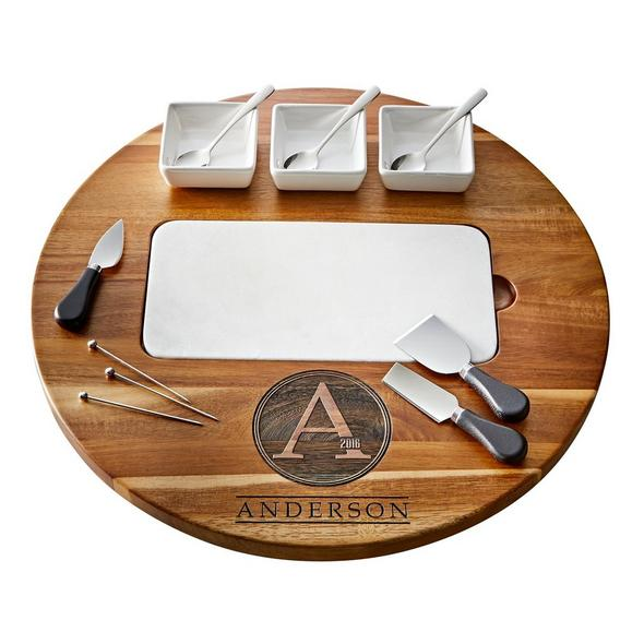 Marble and Solid Acacia Wood All-In-One Lazy Susan Cheese Board (14 Piece Set)