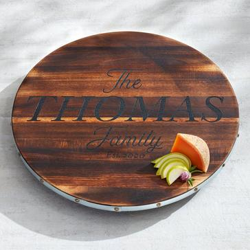 Personalized Wine Barrel Lazy Susan With Family Name & Year
