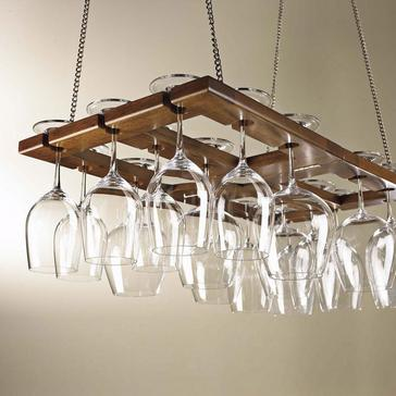 Hanging Mahogany Wine Glass Rack