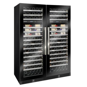 Vinothèque Double Café Dual Zone MAX Wine Cellar with Steady Temp Cooling (Edge-To-Edge Glass Door)