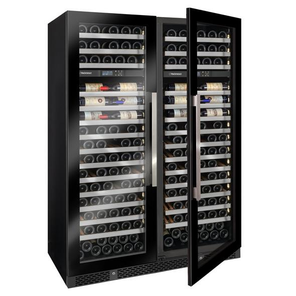 Vinotheque Double Café Dual Zone MAX Wine Cellar with Steady Temp Cooling (Edge-To-Edge Glass Door)