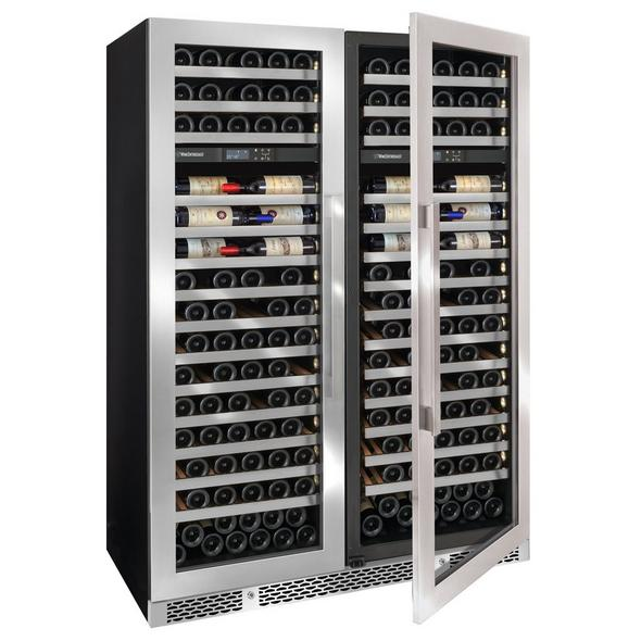 Vinotheque Double Café Dual Zone MAX Wine Cellar with Steady Temp Cooling (Stainless Steel Door)