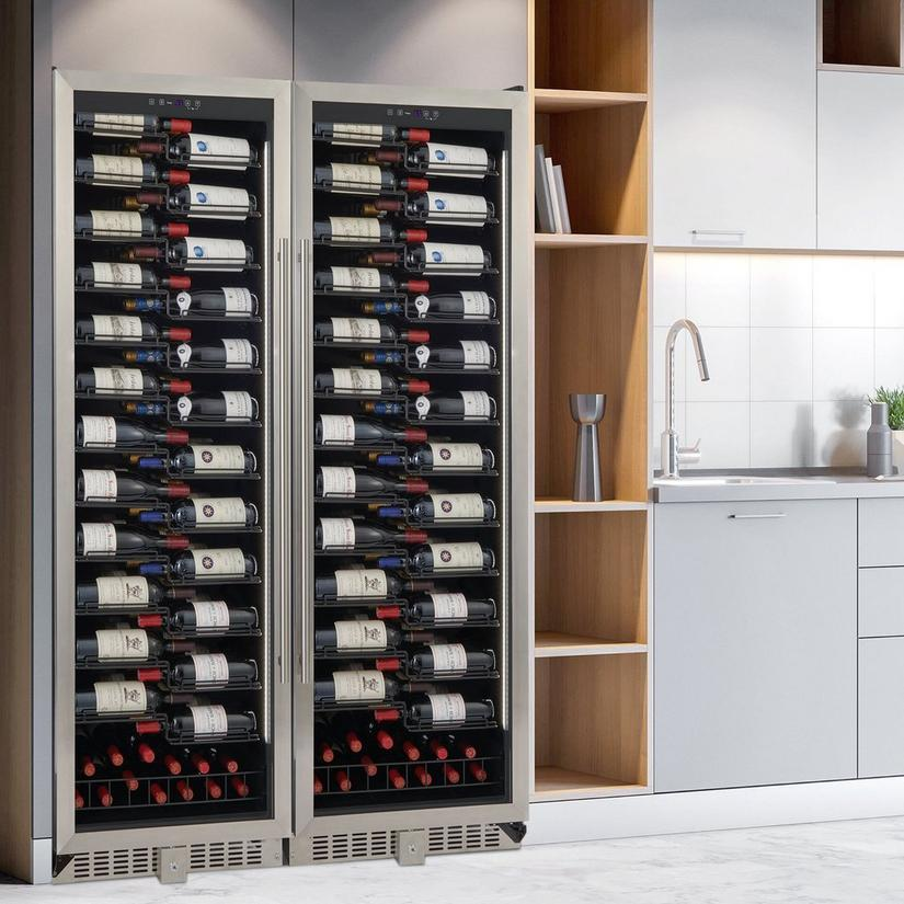 Wine Enthusiast VinoView 310-Bottle Double Wine Cellar (Stainless Steel Door)