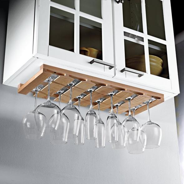 Wooden Hanging Stemware Rack Wine, Under Cabinet Wine Glass Holder Wood