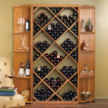 N'FINITY DIY Diamond Bin & Dual Quarter Round Shelf Wine Rack Set (Natural Finish)