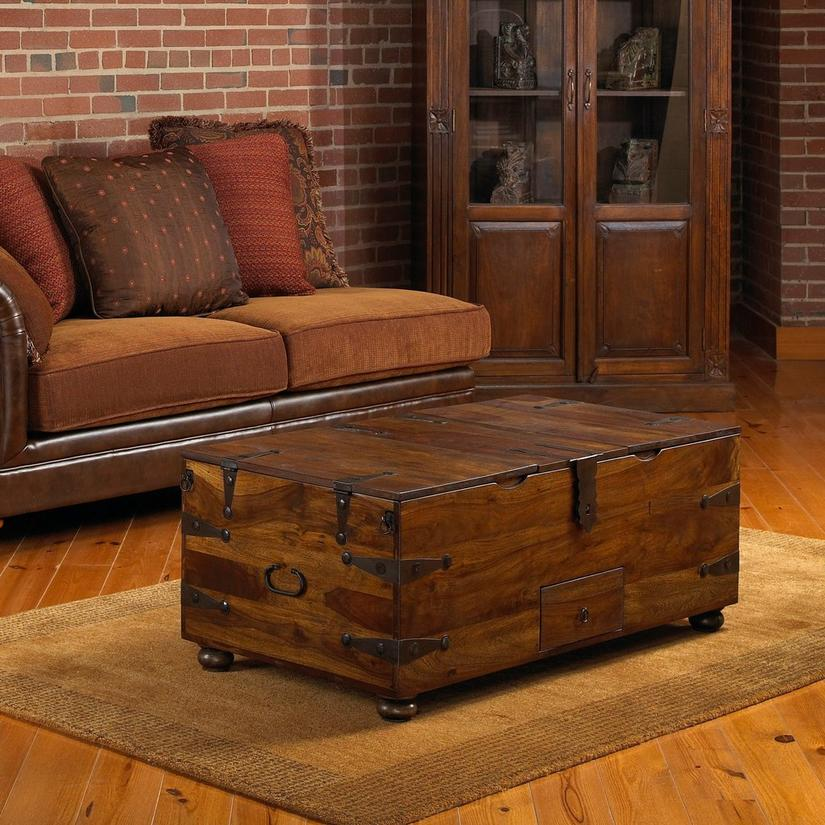 Thakat Bar Box Trunk Coffee Table, Storage Trunk Table