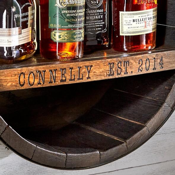 Personalized Reclaimed Whiskey Barrel Bar Shelf