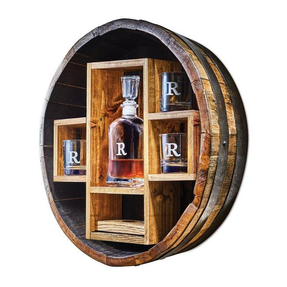 Authentic Kentucky Bourbon Barrel Bar Shelf with Personalized Decanter and Glasses