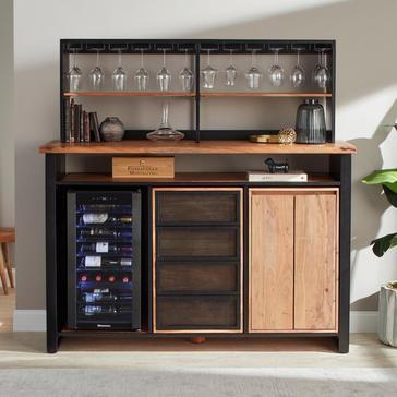 Morgon Live Edge Metal and Wood Wine Bar Center With Glassware Storage Hutch