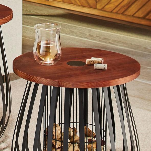 Cork Catcher Accent Table Set Wine Enthusiast
