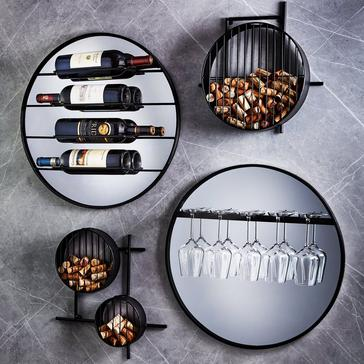 4-Piece Mirrored Wall Wine Storage Set