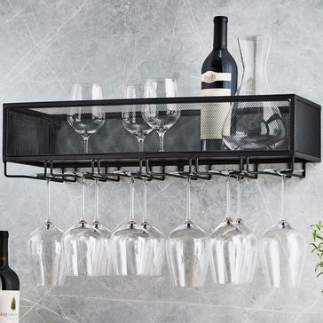 Black Iron Mesh Wall Mounted Storage Shelf & Hanging Wine Glass Rack
