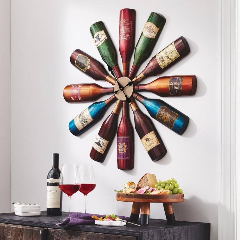 Iron Wine Bottle Wall Clock