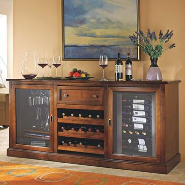 Siena Wine Credenza with Wine Refrigerator (Walnut)