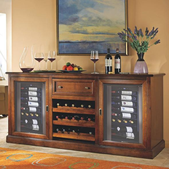 Siena Wine Credenza with Two Wine Refrigerator (Walnut)