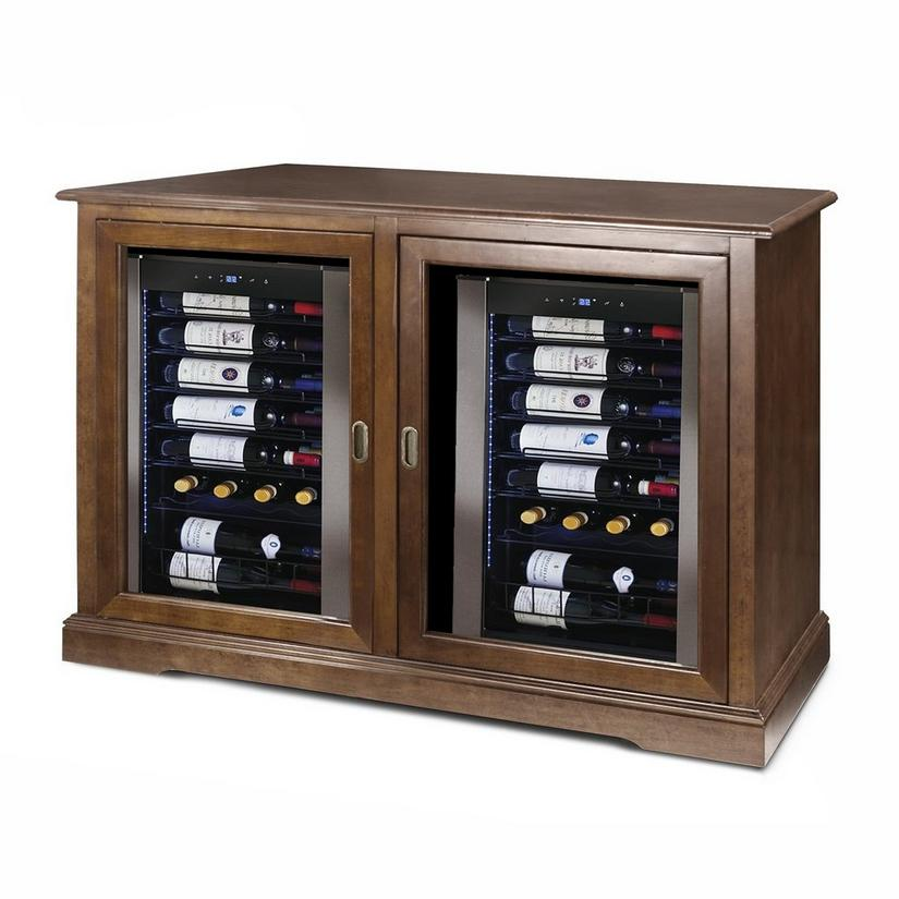 Siena Mezzo Wine Credenza (Walnut) with Two Wine Refrigerators