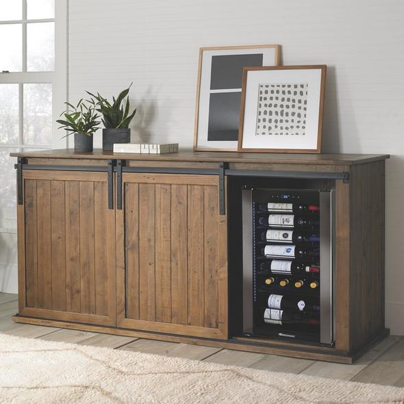 Mesa Sliding Barn Door Credenza With Two Wine Refrigerators
