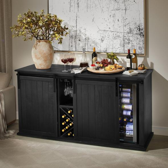 Mesa Sliding Barn Door Credenza With Two Wine Refrigerators - Rustic Black Finish