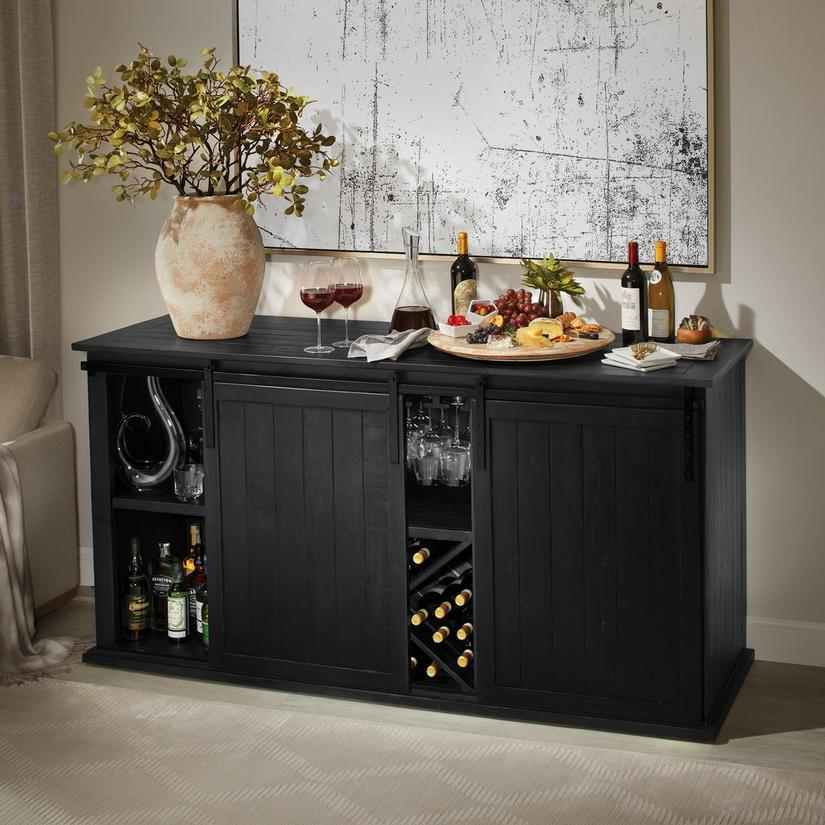 Mesa Sliding Barn Door Credenza - Rustic Black Finish