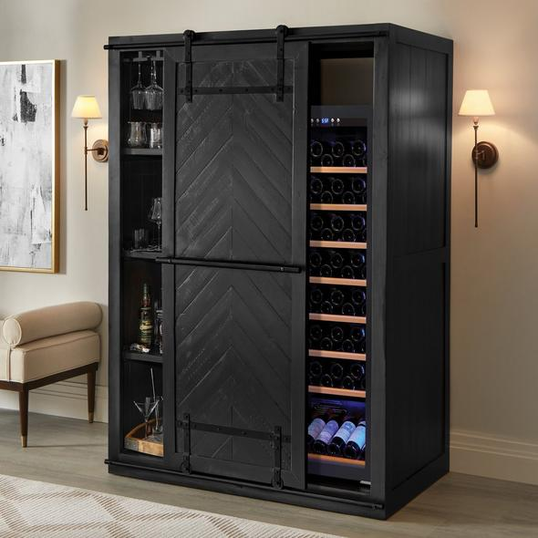 Mesa Sliding Barn Door Armoire with Wine Refrigerator - Rustic Black Finish